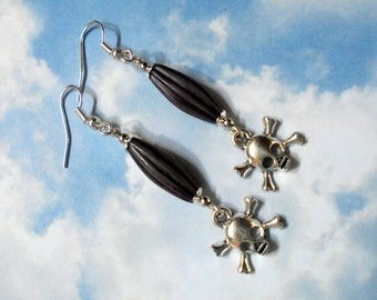 Plum, Black and Silver Skull and Crossbone Earrings (2801)