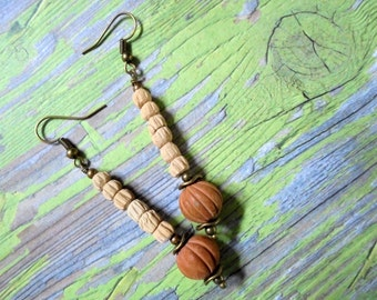 Rustic Tan and Terra Cotta Earrings (2918)