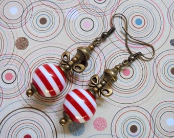 Red and White Striped Oranament Earrings (2965)
