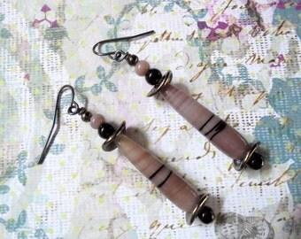 Dark Lavender and Black Teardrop Earrings (2344)