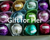 Gift Set for Her with 12 foil wrapped 2.5 oz bath bombs, great for dry skin, Best Sellers