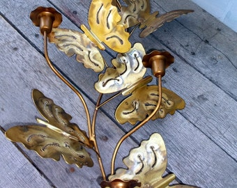 """Candleabra Vintage Brassy Wall Hanging Candelabra Candleabra for 3 candles and with 6 butterflies wall sconce 24"""" tall 12"""" wide"""