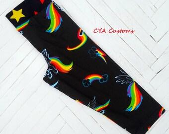 Capri length leggings girl size 4 Rainbow Dash ponies inspired