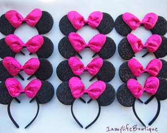Lot of 12 Minnie Mouse Ears Black Hot Pink BIG Bow Shimmer Headband Sequin Mickey Birthday