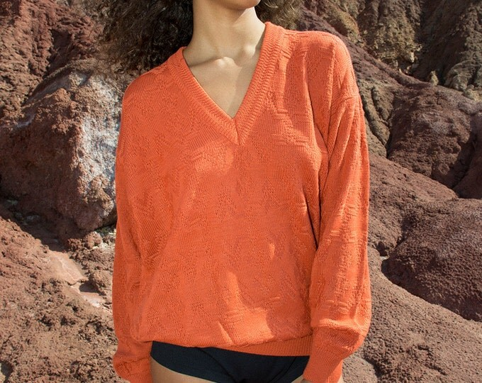 oversized sweater 90s vintage burnt orange deadstock
