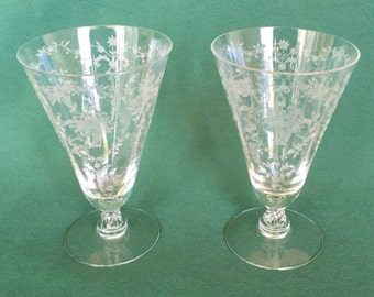 2 Vintage Fostoria Mayflower Pattern Etched Footed Iced Tea Glass Glasses Stemware Set of 2 Circa 1938-1954 Fostoria Glass Company Etched