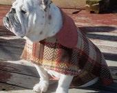 English Bulldog Reversible Coat,Fleece,Fall, winter dog coat, Ski wear, Brown,Tan, Rust Country checks , ReversibleBulldog coat, dog coat