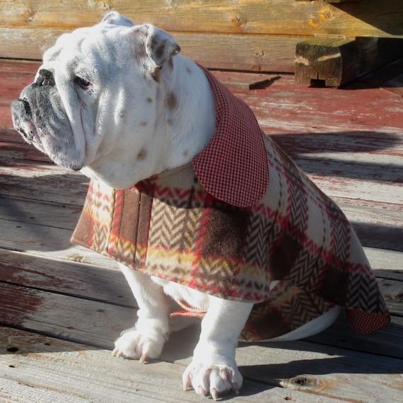 English Bulldog Reversible CoatFleeceFall winter dog coat
