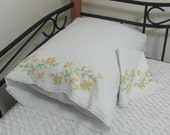 Vintage Hand Embroidered Yellow Gold Cross Stitch Pillowcase Set Pair