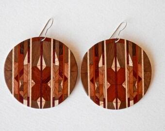 Artisan Earrings Wooden Earrings Turned Wood Vintage Artisan Wooden Jewelry Geometric Jewelry Rosewood Dangle Earrings Mod Abstract Modern