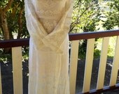 vintage lace boho maxi, alternative long dress, hippy, country wedding, medium / large