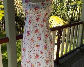 vintage printed cotton maxi / midi dress, medium
