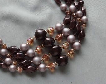 SALE -Vintage JAPAN Lavender & Eggplant Purple Pearl / Amber Crystal Bead 4 Strand Necklace