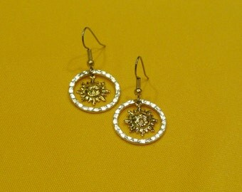 You are my sunshine bright silver and gold earrings (Style #289)