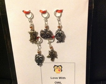 Love with Owl Your Heart Stitch Mark Greeting-Owl Themed Non-Snag Stitch Markers