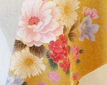 Japanese pure silk yellow ocher Floral design 8