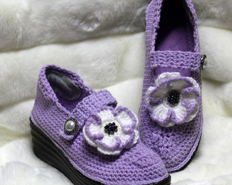 Crochet Shoes - Outdoor Shoes - Slipper Shoes - Handmade Shoe with Soles - Wedge Shoes - Purple Crochet Shoes - Platform Shoes - Bling Shoes