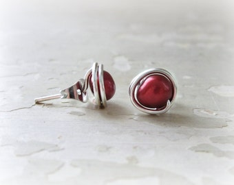 Cranberry Pearl Stud Earrings, Sterling Stud Earrings, Freshwater Pearl Posts, Wire Wrapped Posts,Red Post Earrings, Cranberry Red Post