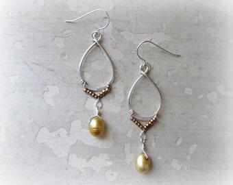 Teardrop Dangles, Freshwater Pearl Drop, Sterling Gold Earrings, Wedding Earrings, Bridal Jewelry, Drop Pearl Earrings, Wire Wrapped Earring