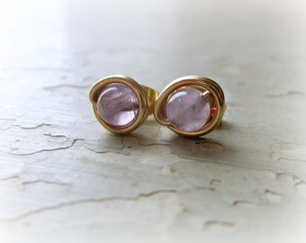 Amethyst Studs, Tiny Stud Earrings, February Birthstone, Lavender Post Earrings, Small Posts, Gold Filled Studs, Amethyst Gold Studs