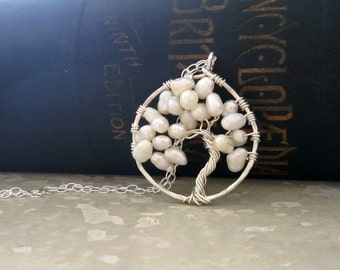 Tree of Life, Tree Pendant, Natural Pearls, Sterling Necklace, Freshwater Pearl Pendant, June Birthstone, Small Tree Pendant, White Pearls