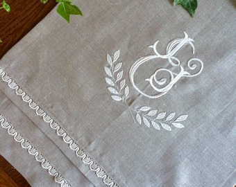 Monogram Table Runner Custom Embroidery Natural Flax Linen Lace 50 inches long