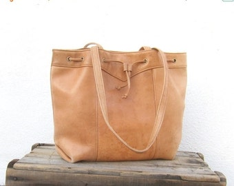 15% Off Out Of Town SALE Tote Drawstring Tan Shopper Distressed Leather Shoulder Bag