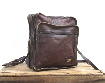 Satchel Crossbody Bag Eggplant Leather Travel Bag by Land