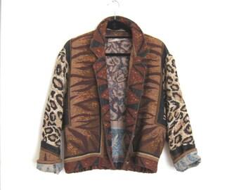 Tapestry Cropped Blazer Cheetah Animal Oversized S/M