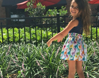Rainbow Giraffes Toddler Girls Skirt Size 3T Ready to Ship