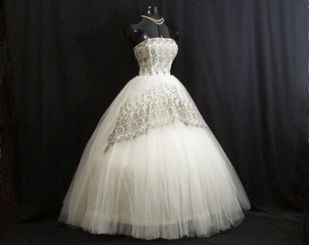 Vintage 50's 50s STRAPLESS Bombshell White Black Bronze Metallic Tulle Embroidered Lace Party Prom Wedding DRESS Gown