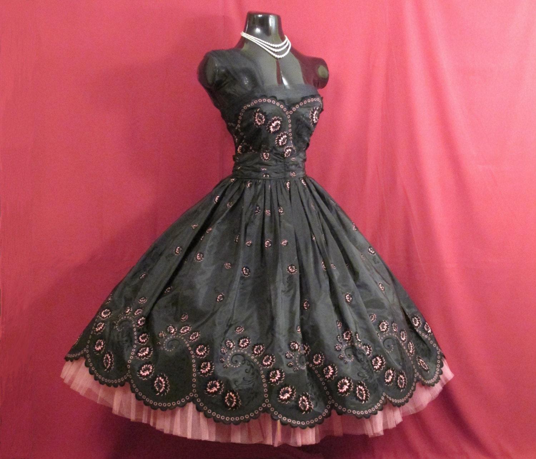 Vintage 1950's 50s STRAPLESS Bombshell Black Flocked Roses