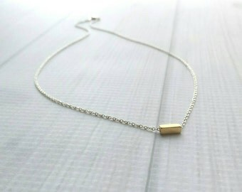 Gold Dash Necklace - .925 sterling silver chain - tiny gold plated brass square tube - simple minimalist delicate mixed metal rectangle line