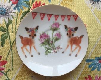 Flower Deers Forever Vintage Illustrated Plate