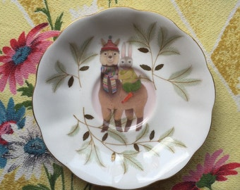 Alpaca and Bunny Vintage Illustrated Plate