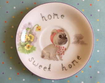 Home Sweet Home Fawn Pug Vintage Illustrated Plate