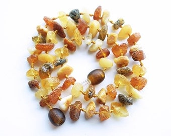 """13.6"""" Natural Baltic Amber baby teething necklace, amber child neclace, raw beads, mixed colors amber necklace, free shape beads"""