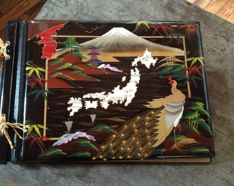 Vintage Asian Handpainted Wooden Album