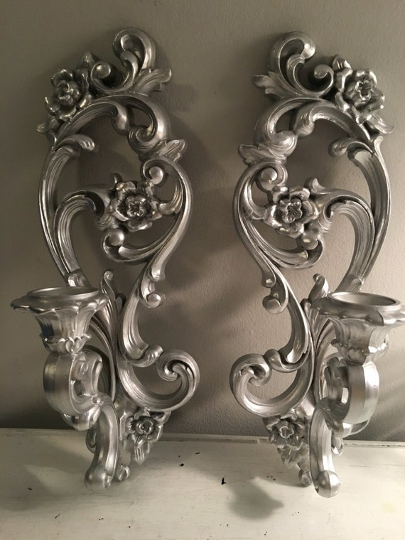 Syroco Wall Sconces Pair of silver metalic Wall Sconces