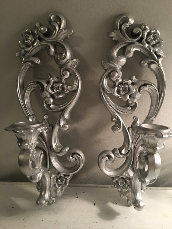 Silver Wall Sconces For Candles : Syroco Wall Sconces Pair of silver metalic Wall Sconces