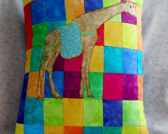 Bohemian Patchwork Giraffe Circus Pillow Neon Primary Colors