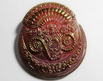 Pink Czech Glass Button Asian Motif