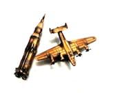 vintage pencil sharpeners - 1960s mid century coppery pencil sharpener set plane & spaceship