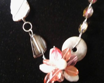 Pink Flower And Gray Stone Chunky Statement Necklace