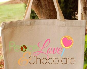 Canvas Tote Bag Peace Love Chocolate