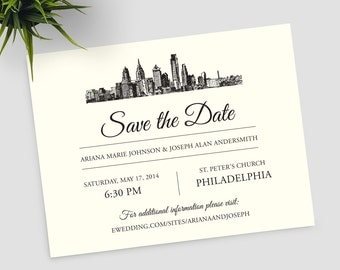 Philadelphia Skyline Destination Save the Date SAMPLE ONLY; philly city skyline