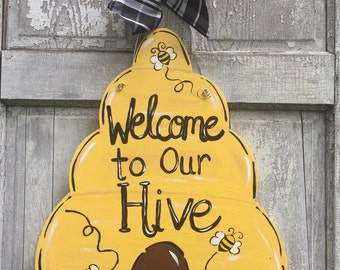 Bee keeper door hanger, Hive door hanger, Bee classroom sign, Bee sign, Bee hive door hanger