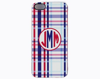 iPhone 5, 5c, 6, 6+ Personalized Cover With Monogram, iPod Case, Preppy Blue And Red Plaid Cellphone Cover