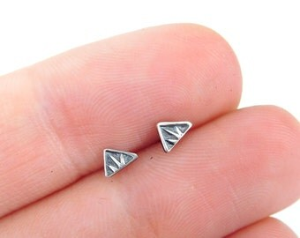 Silver triangle studs | sterling post earrings | small silver earrings | sterling silver metalwork | Geometric earrings | tiny posts