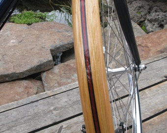 Wood Bike Fenders- Fully Shaped Compound Curve Cherry with Blood wood stripe.  Mud guard, bike, touring bike, urban, wood, woody, NYC